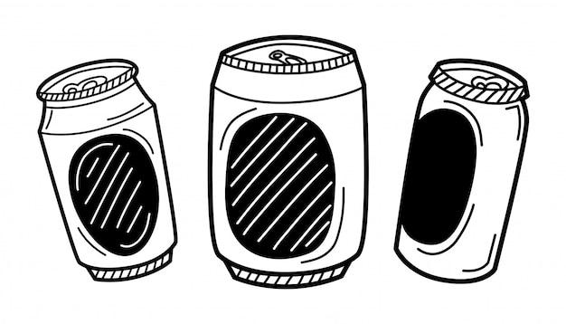 Lata de cerveja desenhada mão