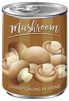 Lata de cogumelos champignon em salmoura