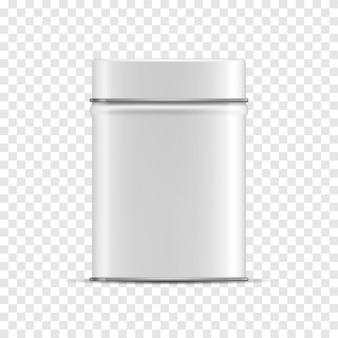 Lata de lata lustrosa branca do vetor 3d em um fundo transparente