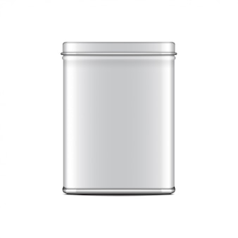 Lata de lata retangular com brilho branco. recipiente para café, chá, açúcar, doce, especiarias. embalagem ilustração realista