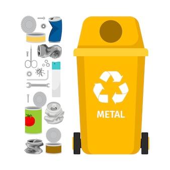 Lata de lixo amarela com lixo de metal