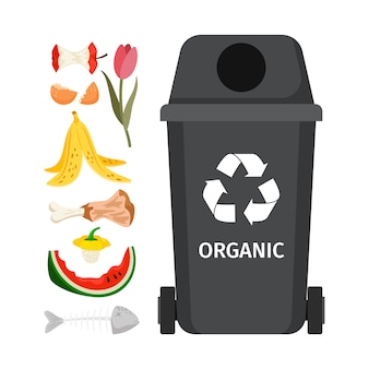 Lata de lixo cinza com elementos orgânicos