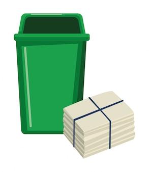 Lata de lixo e papel ancorado