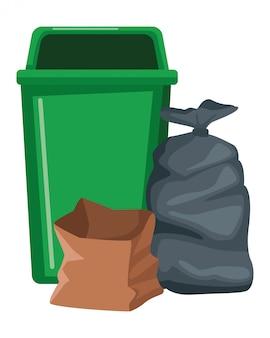 Lata de lixo e saco ícone