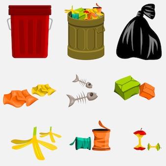 Lata de lixo editável e lixo