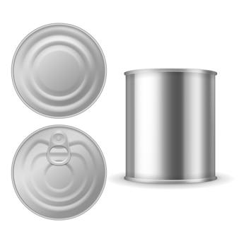 Lata de metal. alimentos enlatados, pacote de aço alumínio fechado com anel puxar, modelo isolado em branco prata realista
