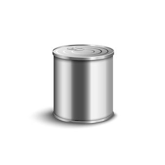 Lata de metal realista - recipiente curto de tamanho médio com superfície prateada brilhante e tampa fechada para conservas alimentares.