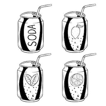 Lata de refrigerante com sabor de limão e laranja usando estilo mão desenhada
