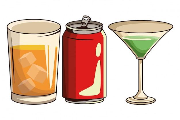 Lata de refrigerante e coquetel