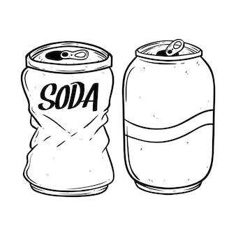 Lata de refrigerante preto e branco