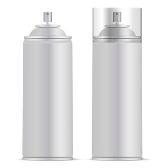 Lata de spray de alumínio com maquete de vetor de tampa
