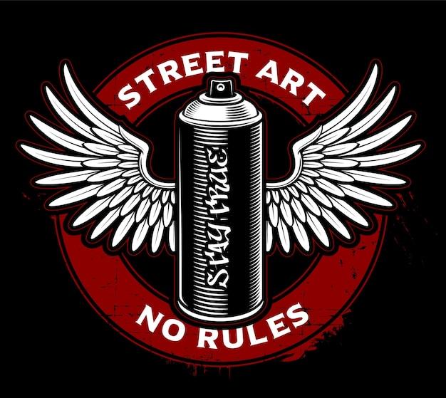 Lata de spray de graffiti com asas. design de logotipo em fundo escuro.