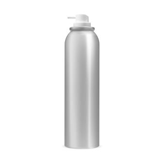 Lata de spray garrafa de aerossol vetor recipiente de prata em branco tubo de ambientador de cilindro de alumínio