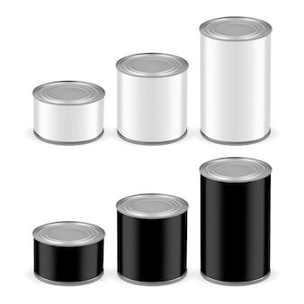 Latas brancas e pretas de diferentes tamanhos isoladas no fundo branco
