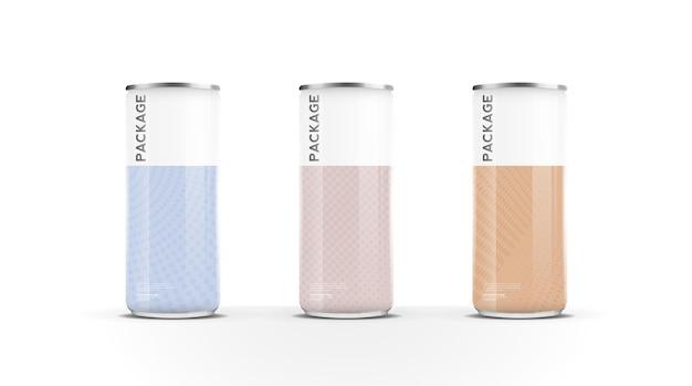 Latas de alumínio para cerveja, água, suco, bebida energética ou pacote de refrigerante simulado para vetor de design de modelo