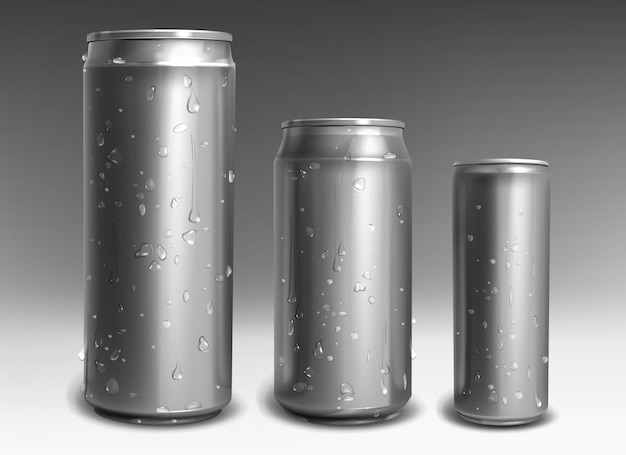 Latas de alumínio prateado com gotas de água em estilo realista