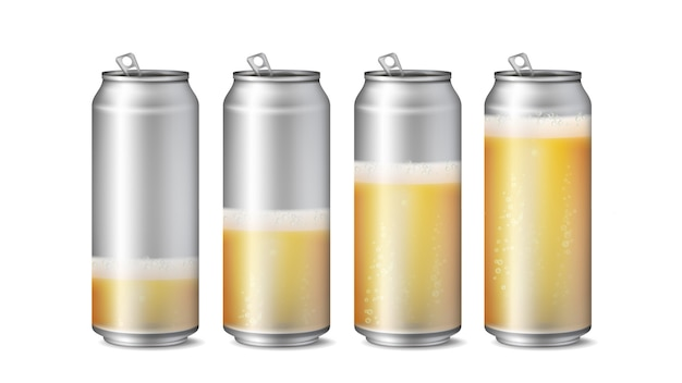 Latas de cerveja realista maquete