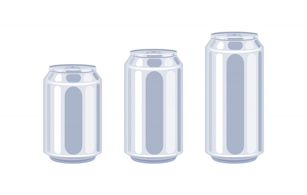 Latas de cerveja tamanhos conjunto de ícones.