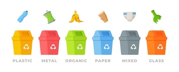 Latas de lixo com ícones de lixo classificados. reciclagem de coleta seletiva de lixo