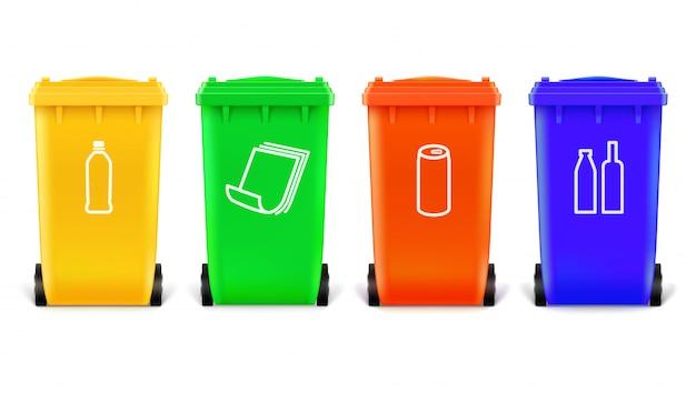 Latas de lixo com ícones para o tipo de produtos