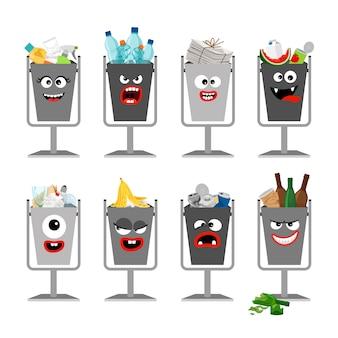 Latas de lixo com lixo para crianças