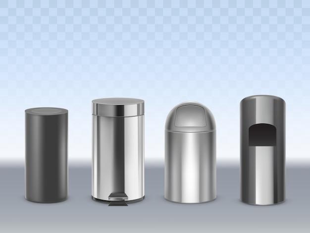 Latas de lixo de aço inoxidável 3d realista vector conjunto isolado na transparente. recipientes de metal cilíndricos foscos, pretos, brilhantes, cromados para resíduos com tampa móvel e ilustração de pedal