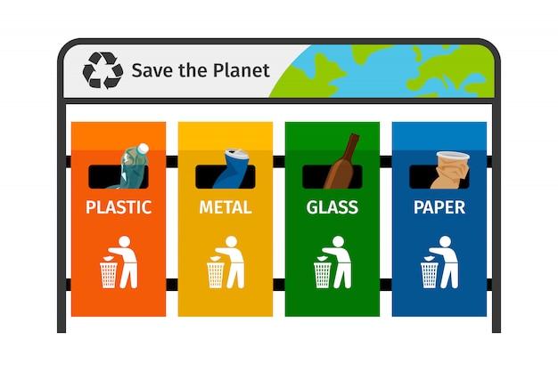 Latas de lixo de metal de papel plástico de vidro em cores diferentes