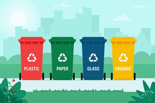 Latas de lixo para resíduos orgânicos, de papel, plástico e vidro no fundo da cidade. reciclagem, triagem de resíduos, ecologia, conceito. ilustração em estilo simples