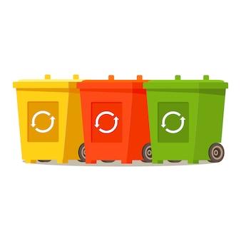 Latas de lixo. reciclagem de lixo verde, amarelo. reciclagem de mesa vermelha recipiente. símbolo de reciclagem universal.