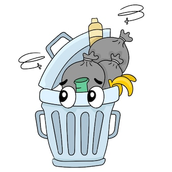 Latas de lixo sujas cheias de lixo fedorento. emoticon de adesivo de ilustração de desenho animado