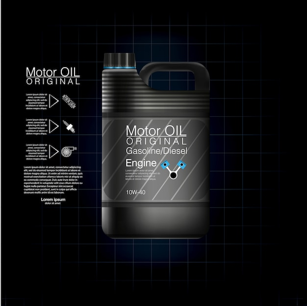 Latas de plástico para óleo de motor e fluidos técnicos. vasilha óleo garrafa motor, fundo de óleo, ilustração. óleo de motor de garrafa preta.