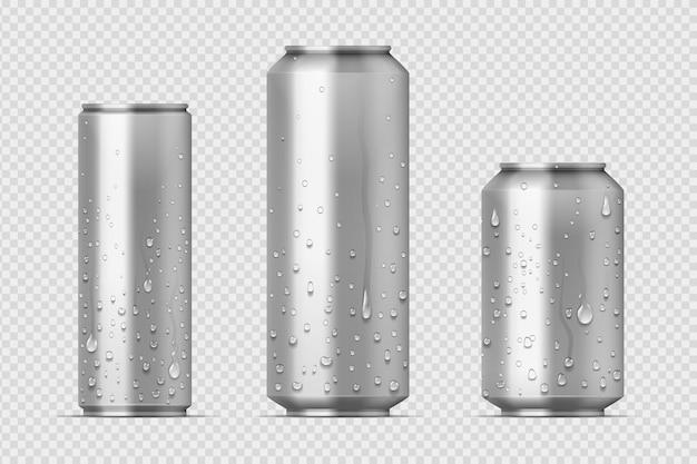 Latas de refrigerante e limonada de alumínio com gotas de água