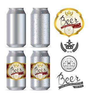 Latas realistas de alumínio de cerveja