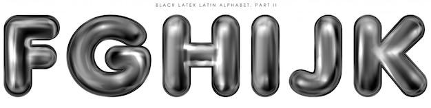 Látex preto inflado símbolos do alfabeto, letras isoladas fghijk