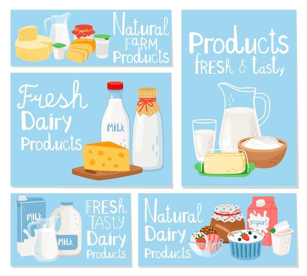 Laticínios queijo e leite, conjunto de cartões