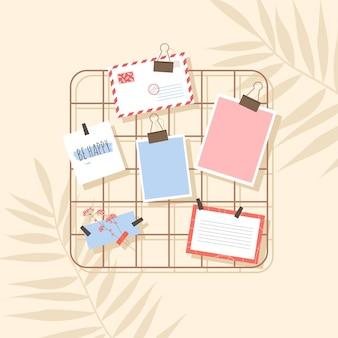 Lattice mood board para fotos, notas e cartão