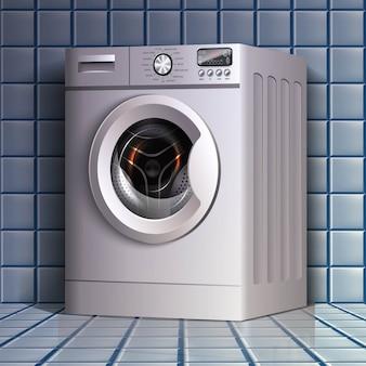 Lavadora de roupas em vista em perspectiva no piso de azulejo do banheiro