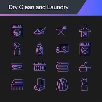 Lavagem a seco e ícones de lavanderia.