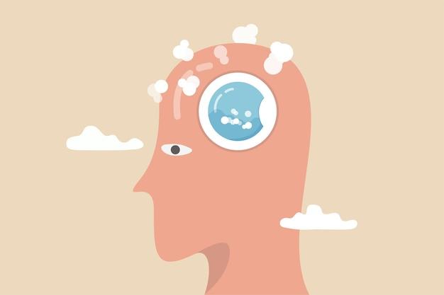 Lavagem cerebral por mídias ou informações publicitárias, fazer alguém acreditar, manipular o pensamento, controlar como as pessoas pensam o conceito, cabeça humana com máquina de lavar em ação para limpar seu cérebro.