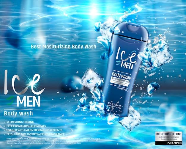 Lavagem corporal masculina sob a água com elementos de cubos de gelo, anúncios de produtos de cuidados masculinos