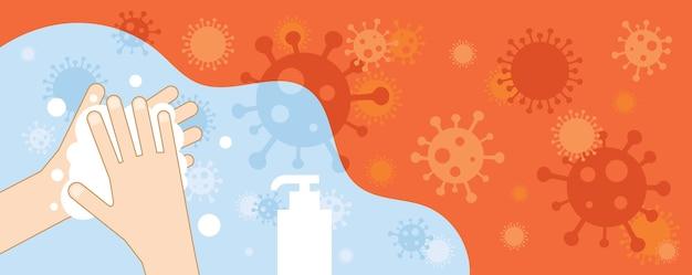 Lavagem das mãos para prevenir o fundo do coronavírus, limpeza, higiene