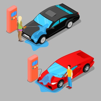 Lavagem de carro de mão isométrica. motorista lavar carro
