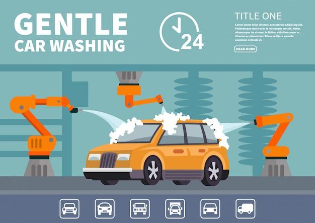 Lavagem de carro gentil de infográficos