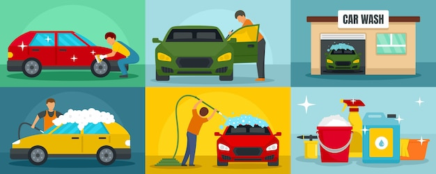 Lavagem de carros limpeza banner conjunto