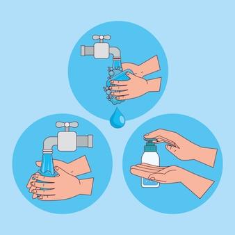 Lavagem de mãos com água da torneira em desenho de círculos, higiene, lavagem, saúde e limpeza