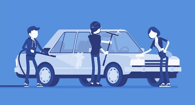 Lavagem de mãos de carros self-service para jovens