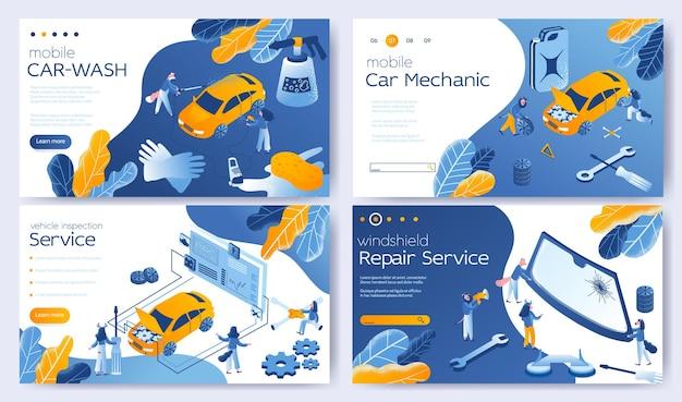 Lavagem e detalhamento de veículos móveis, mecânico de automóveis móveis, serviço de inspeção de veículos