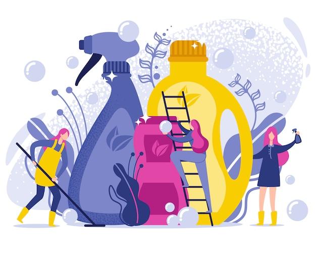 Lavagem e limpeza de produtos de ilustração plana.