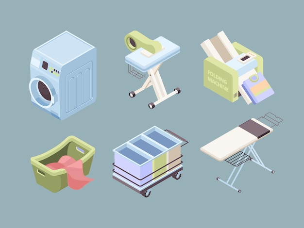 Lavandaria isométrica. bolhas de tecido limpam toalhas de serviço, mancha suja, coleção de sabão de lavanderia automática.