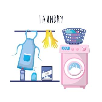 Lavanderia com equipamento elétrico e trabalho doméstico
